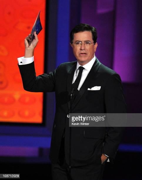 TV personality Stephen Colbert presents the Outstanding Supporting Actress in a Comedy Series award onstage at the 62nd Annual Primetime Emmy Awards...