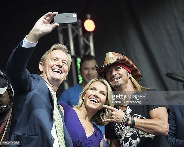 TV Personality Steve Doocy TV Personality Heather Nauert and Musician Bret Michaels pose for a photograph during 'FOX Friends' All American Concert...