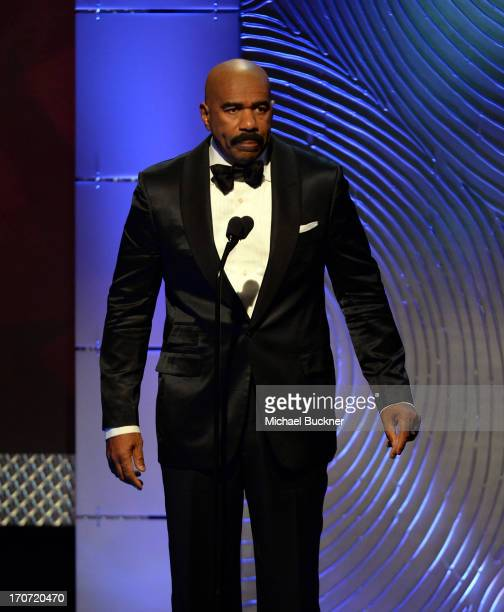 TV personality Steve Harvey onstage during the 40th Annual Daytime Emmy Awards at the Beverly Hilton Hotel on June 16 2013 in Beverly Hills...