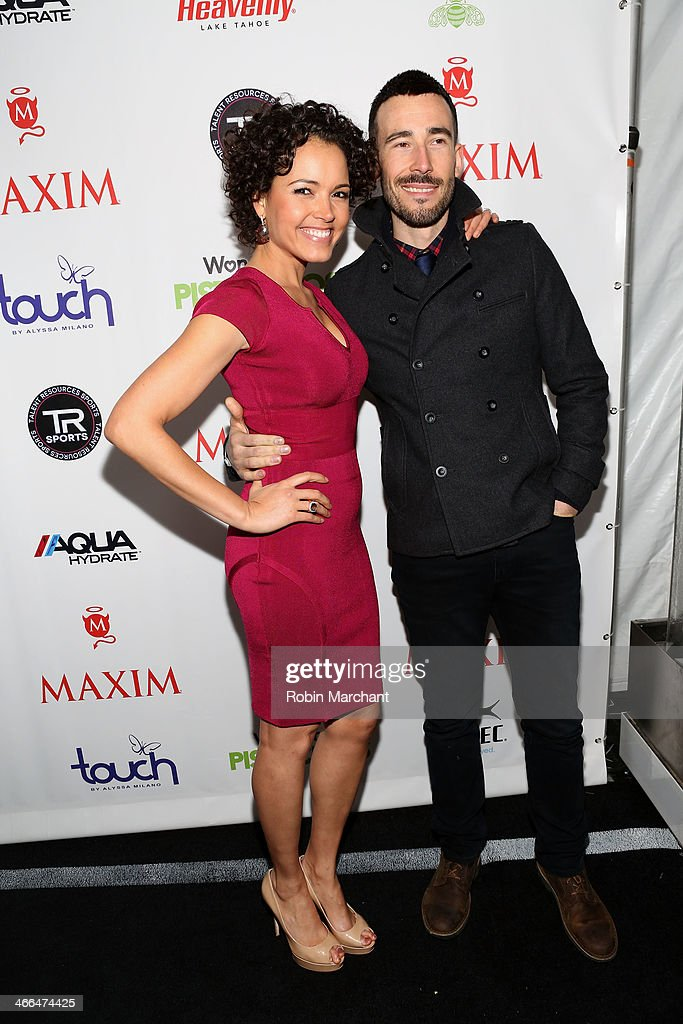 TV personality Susie Castillo and Matt Leslie attend Talent Resources Sports presents MAXIM 'BIG GAME WEEKEND' sponsored by AQUAhydrat, Heavenly Resorts, Wonderful Pistachios, Touch by Alyssa Milano, and Philippe Chow on February 1, 2014 in New York City.