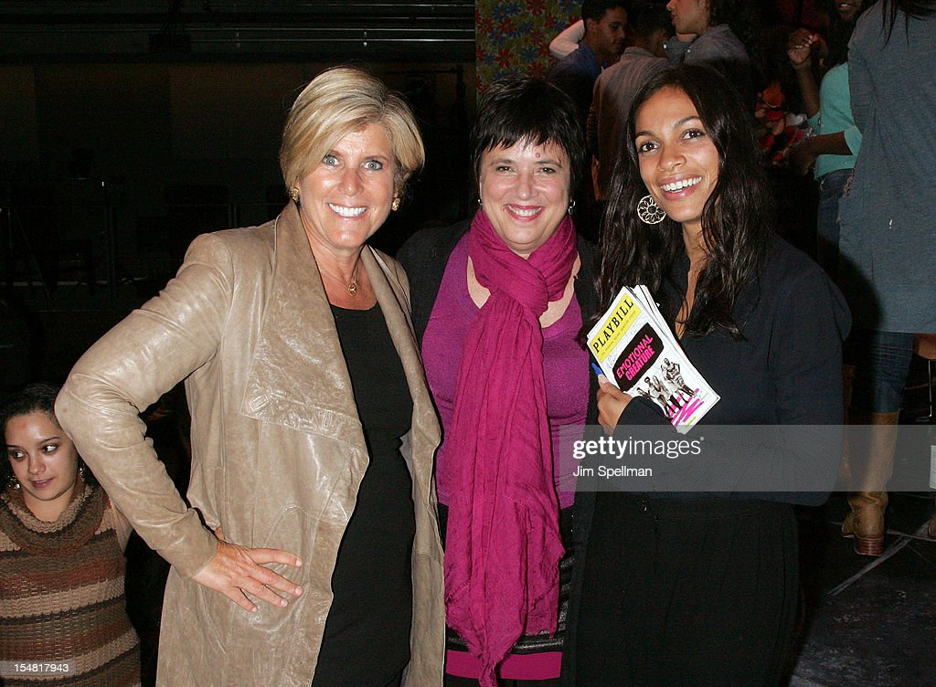 TV Personality Suze Orman, playwright Eve Ensler and actress Rosario Dawson attend 'Emotional Creatures' Talkback Series at The Pershing Square Signature Center on October 26, 2012 in New York City.