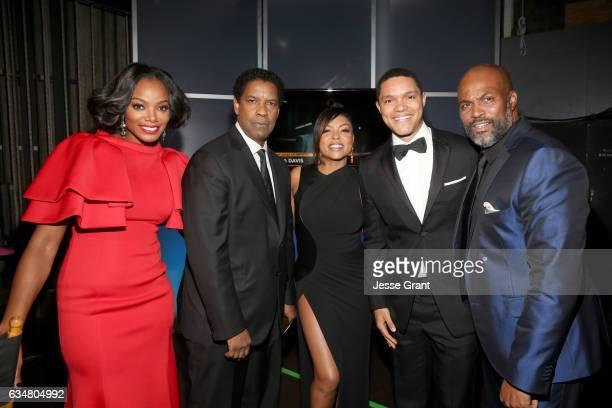 TV Personality Tai Beauchamp Actors Denzel Washington Tarji P Henson Trevor Noah and Chris Spencer attend the 48th NAACP Image Awards at Pasadena...