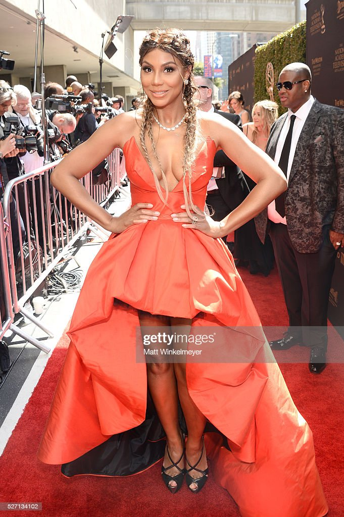 TV personality <a gi-track='captionPersonalityLinkClicked' href=/galleries/search?phrase=Tamar+Braxton&family=editorial&specificpeople=2079619 ng-click='$event.stopPropagation()'>Tamar Braxton</a> walks the red carpet at the 43rd Annual Daytime Emmy Awards at the Westin Bonaventure Hotel on May 1, 2016 in Los Angeles, California.