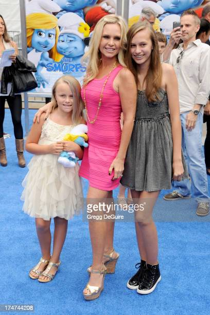 TV personality Tamra Barney and kids arrive at the Los Angeles premiere of 'Smurfs 2' at Regency Village Theatre on July 28 2013 in Westwood...