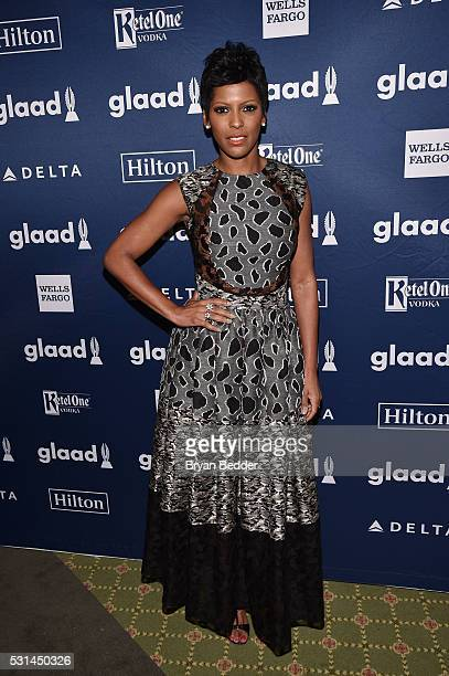 TV personality Tamron Hall poses backstage at the 27th Annual GLAAD Media Awards in New York on May 14 2016 in New York City