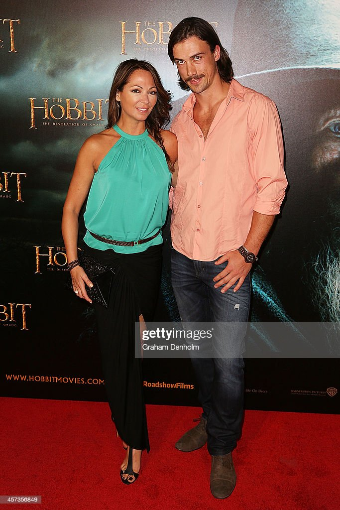 TV personality <a gi-track='captionPersonalityLinkClicked' href=/galleries/search?phrase=Tania+Zaetta&family=editorial&specificpeople=206963 ng-click='$event.stopPropagation()'>Tania Zaetta</a> (L) and Chris Rogers arrive at the premiere of 'The Hobbit: Demolition Of Smaug' at Village Cinemas Rivoli on December 17, 2013 in Melbourne, Australia.