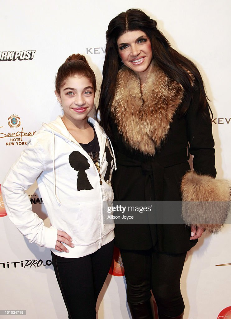 TV personality <a gi-track='captionPersonalityLinkClicked' href=/galleries/search?phrase=Teresa+Giudice&family=editorial&specificpeople=5912953 ng-click='$event.stopPropagation()'>Teresa Giudice</a> and her daughter Gia Giudice attend the Boy Meets Girl by Stacy Igel fall 2013 fashion show during Conair Style360> at Metropolitan Pavilion on February 13, 2013 in New York City.