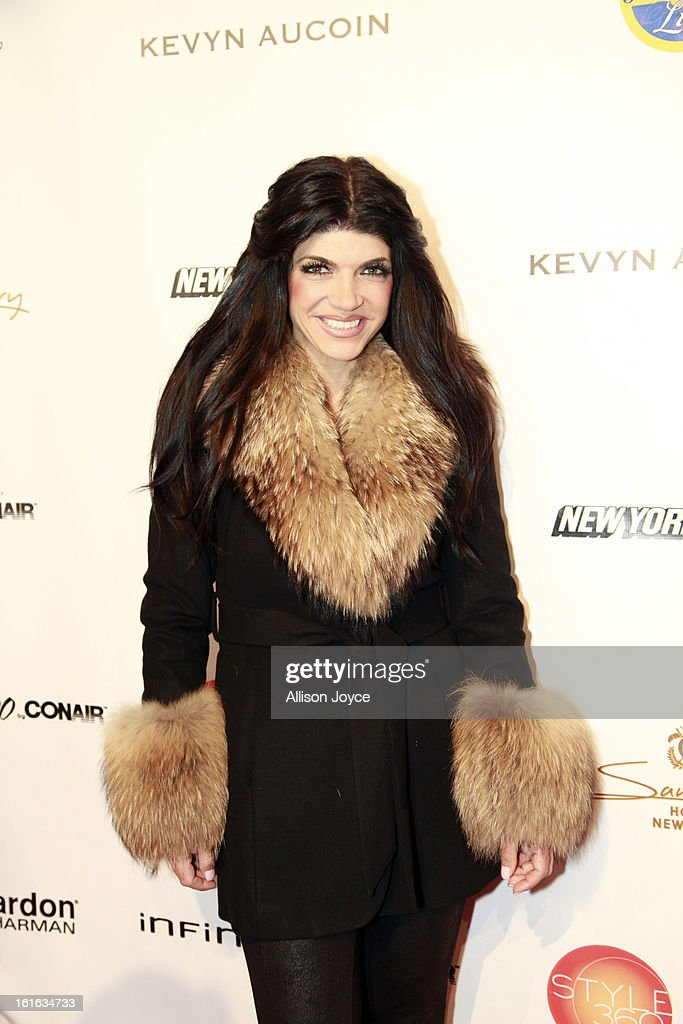 TV personality Teresa Giudice attends the Boy Meets Girl by Stacy Igel fall 2013 fashion show during Conair Style360 at Metropolitan Pavilion on February 13, 2013 in New York City.