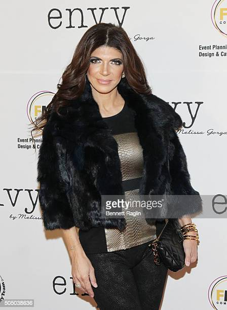 TV personality Teresa Giudice attends the grand opening of envy by Melissa Gorga Boutique on January 14 2016 in Montclair New Jersey