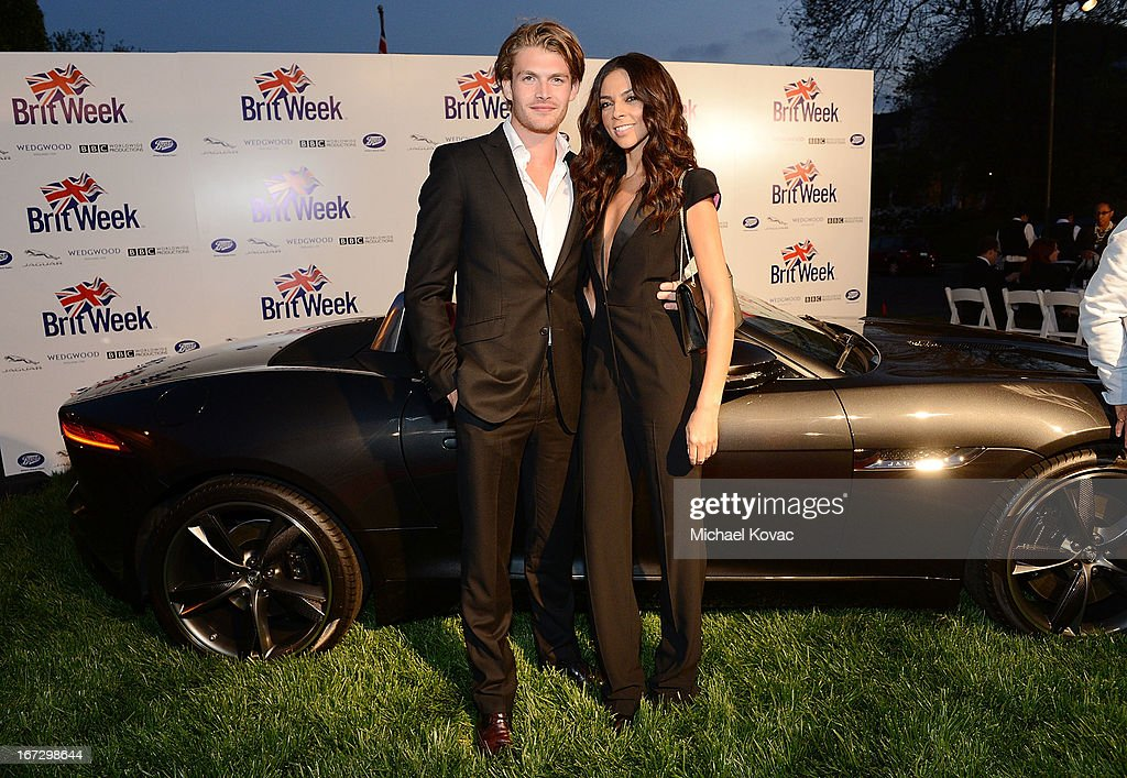 TV personality Terri Seymour (L) and model Clark Mallon attend the BritWeek Los Angeles Red Carpet Launch Party with Official Vehicle Sponsor Jaguar on April 23, 2013 in Los Angeles, California.