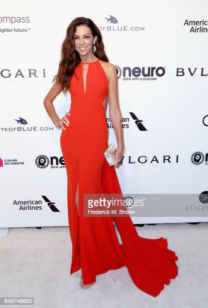 Personality Terri Seymour attends the 25th Annual Elton John AIDS Foundation's Academy Awards Viewing Party at The City of West Hollywood Park on...