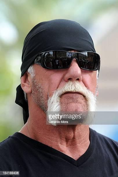 TV personality Terry Bollea aka Hulk Hogan attends a press conference to discuss legal action being brought on his behalf October 15 2012 in Tampa...
