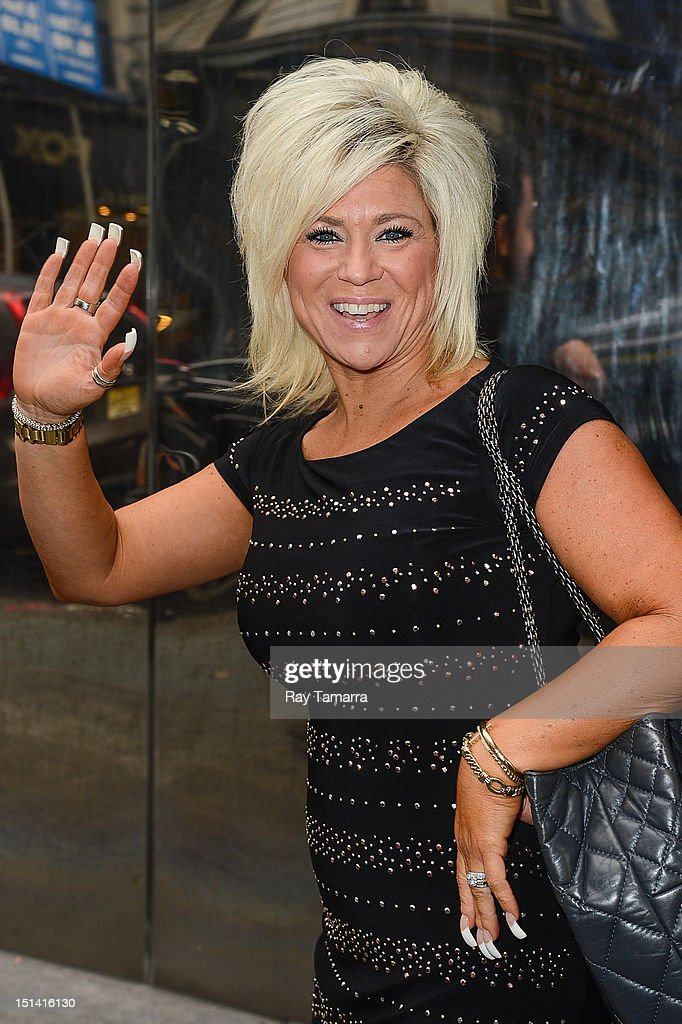 TV personality Theresa Caputo leaves the 'Good Day New York' taping at the Fox 5 Studios on September 6, 2012 in New York City.