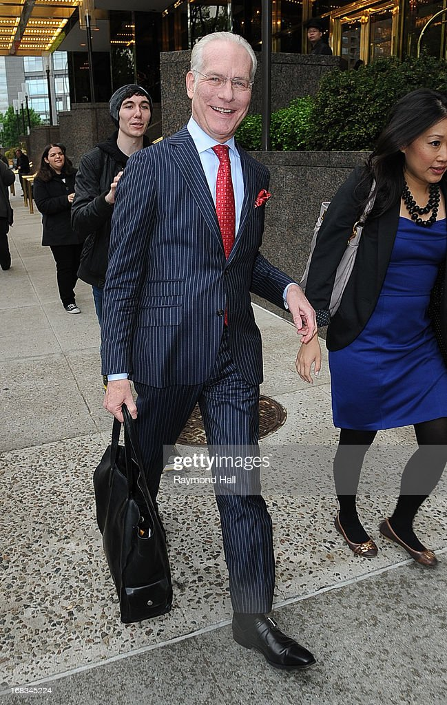 TV personality <a gi-track='captionPersonalityLinkClicked' href=/galleries/search?phrase=Tim+Gunn&family=editorial&specificpeople=696109 ng-click='$event.stopPropagation()'>Tim Gunn</a> is seen outside Trump Hotel on May 8, 2013 in New York City.