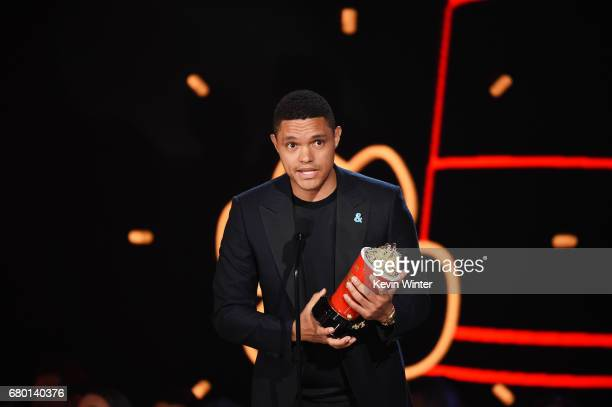 TV personality Trevor Noah accepts Best Host for 'The Daily Show' onstage during the 2017 MTV Movie And TV Awards at The Shrine Auditorium on May 7...