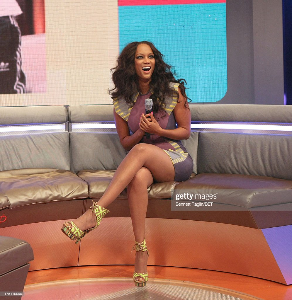 TV personality Tyra Bank visits BET's '106 & Park' at BET Studios on July 31, 2013 in New York City.