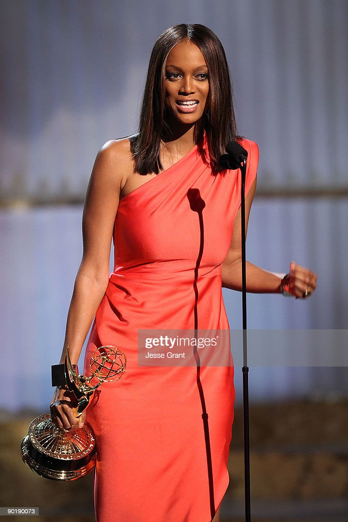 TV personality Tyra Banks accepts the Emmy for Outstanding Talk Show/Informative during the 36th Annual Daytime Emmy Awards at The Orpheum Theatre on August 30, 2009 in Los Angeles, California.