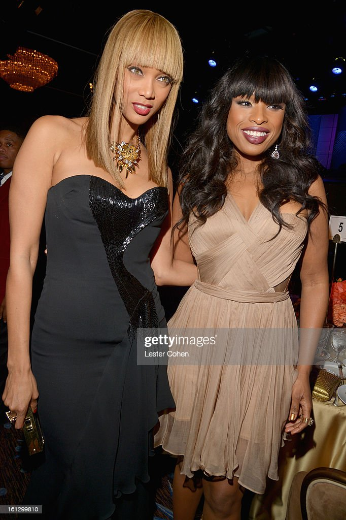 TV personality Tyra Banks (L) and singer Jennifer Hudson attend the 55th Annual GRAMMY Awards Pre-GRAMMY Gala and Salute to Industry Icons honoring L.A. Reid held at The Beverly Hilton on February 9, 2013 in Los Angeles, California.