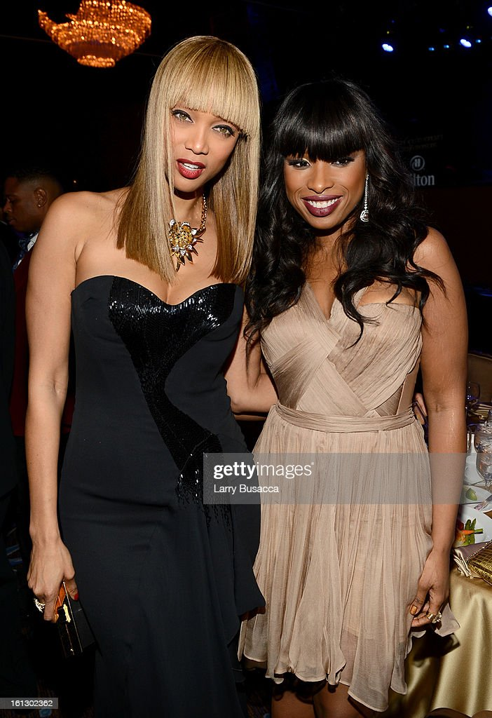 TV personality Tyra Banks (L) and singer/actress Jennifer Hudson arrive at the 55th Annual GRAMMY Awards Pre-GRAMMY Gala and Salute to Industry Icons honoring L.A. Reid held at The Beverly Hilton on February 9, 2013 in Los Angeles, California.