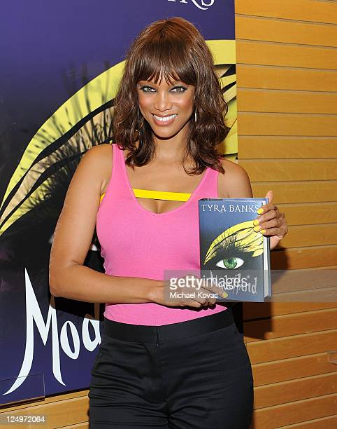 TV personality Tyra Banks arrives at a signing for her new book 'Modelland' at Barnes Noble 3rd Street Promenade on September 14 2011 in Santa Monica...