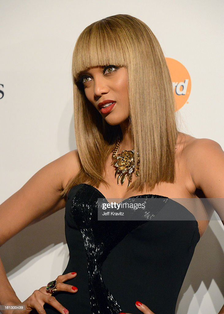 TV personality Tyra Banks arrives at Clive Davis and The Recording Academy's 2013 GRAMMY Salute to Industry Icons Gala held at The Beverly Hilton Hotel on February 9, 2013 in Beverly Hills, California.