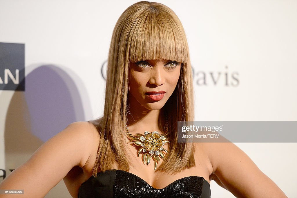 TV personality Tyra Banks arrives at Clive Davis & The Recording Academy's 2013 Pre-GRAMMY Gala and Salute to Industry Icons honoring Antonio 'L.A.' Reid at The Beverly Hilton Hotel on February 9, 2013 in Beverly Hills, California.