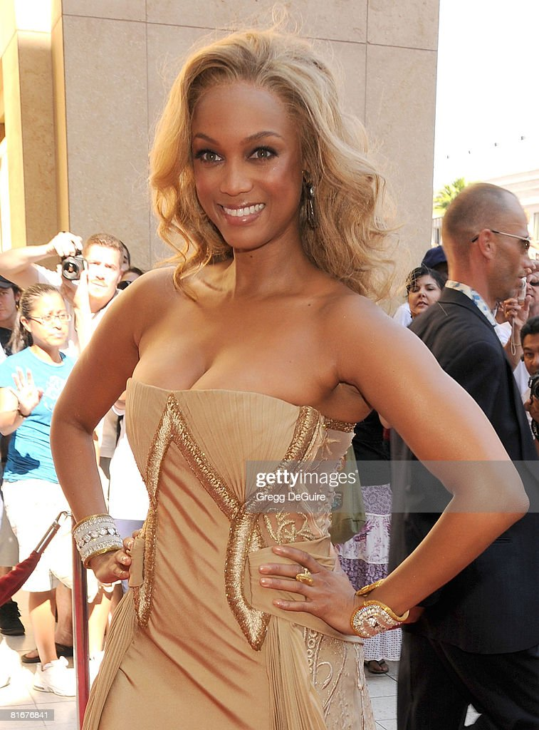 TV personality Tyra Banks arrives at the 35th Annual Daytime Emmy Awards at the Kodak Theatre on June 20, 2008 in Los Angeles, California.