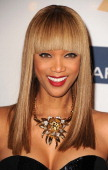 TV personality Tyra Banks arrives at the 55th Annual GRAMMY Awards PreGRAMMY Gala and Salute to Industry Icons honoring LA Reid held at The Beverly...