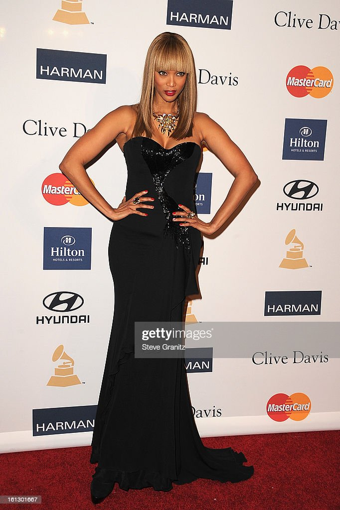 TV personality Tyra Banks arrives at the 55th Annual GRAMMY Awards Pre-GRAMMY Gala and Salute to Industry Icons honoring L.A. Reid held at The Beverly Hilton on February 9, 2013 in Los Angeles, California.