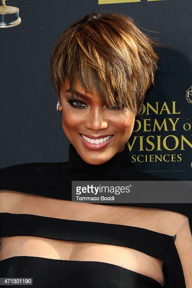 TV personality Tyra Banks attends the 42nd annual Daytime Emmy Awards held at Warner Bros Studios on April 26 2015 in Burbank California