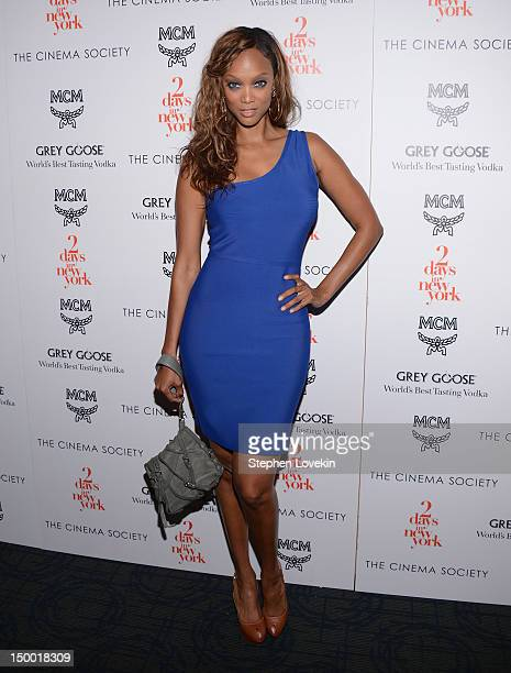 TV personality Tyra Banks attends The Cinema Society special screening of 'Two Days In New York' at Landmark Sunshine Cinema on August 8 2012 in New...