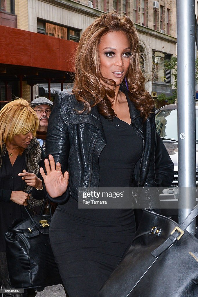 TV personality Tyra Banks enters the 'Wendy Williams Show' taping at the Chelsea Studios on November 15, 2012 in New York City.