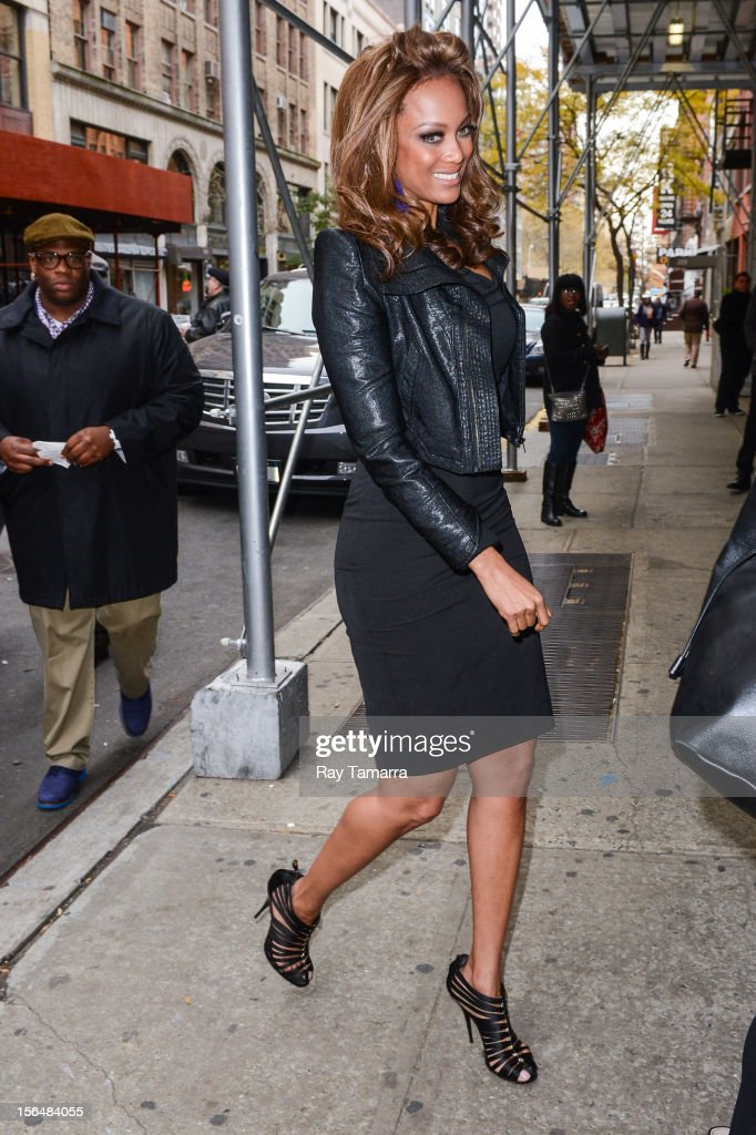 TV personality Tyra Banks enters the 'Wendy Williams Show' taping at the Chelsea Studios on November 15 2012 in New York City