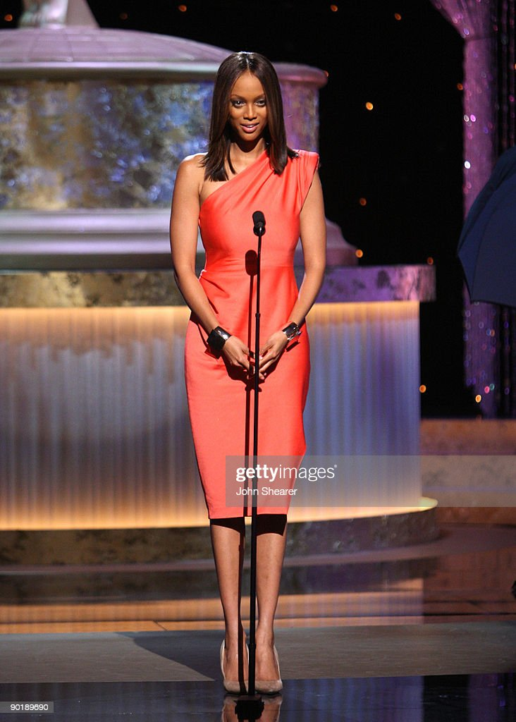 TV personality Tyra Banks speaks onstage during the 36th Annual Daytime Emmy Awards at The Orpheum Theatre on August 30, 2009 in Los Angeles, California.