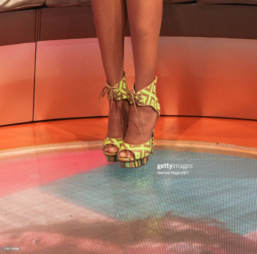 TV personality Tyra Banks (shoe detail) visits BET's '106 & Park' at BET Studios on July 31, 2013 in New York City.