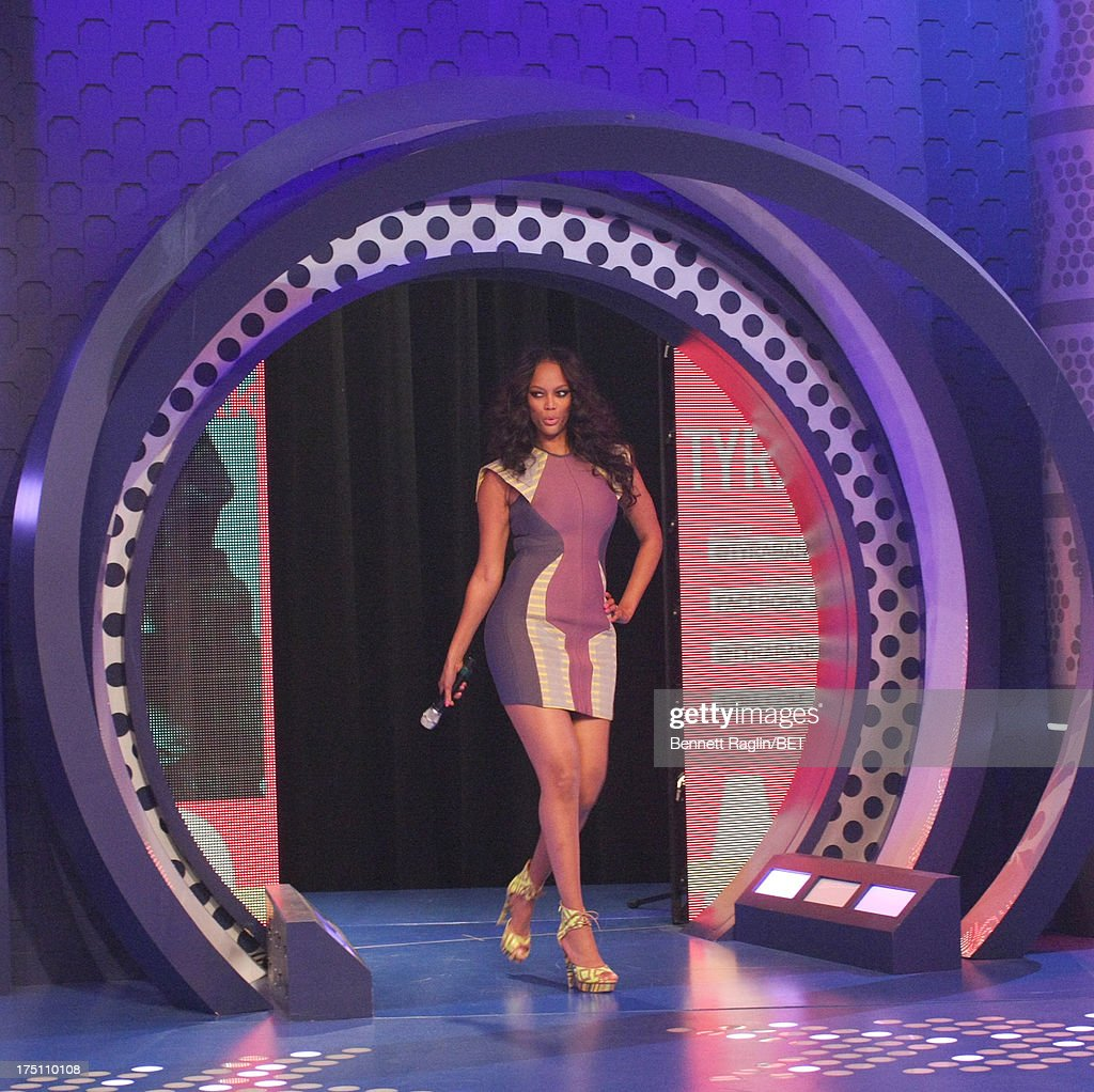 TV personality Tyra Banks visits BET's '106 & Park' at BET Studios on July 31, 2013 in New York City.