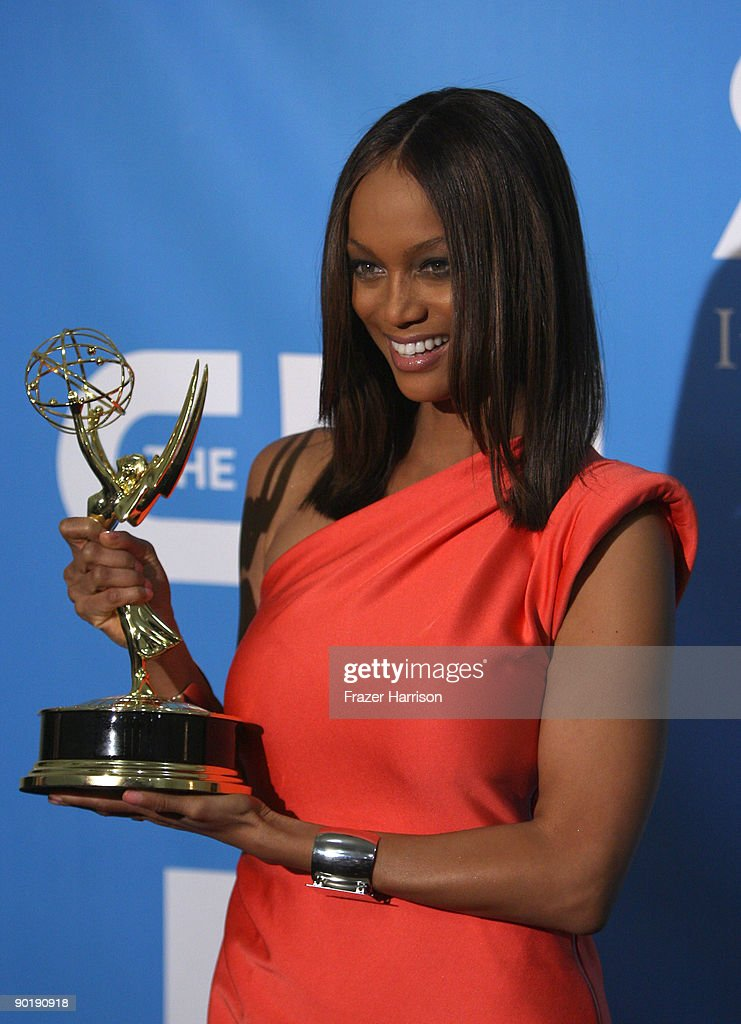 TV personality Tyra Banks, winner of the Emmy for Outstanding Talk Show/Informative, poses in the press room at the 36th Annual Daytime Emmy Awards at The Orpheum Theatre on August 30, 2009 in Los Angeles, California.