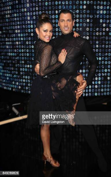 TV personality Vanessa Lachey and dancer Maksim Chmerkovskiy attend 'Dancing with the Stars' season 25 at CBS Televison City on September 18 2017 in...