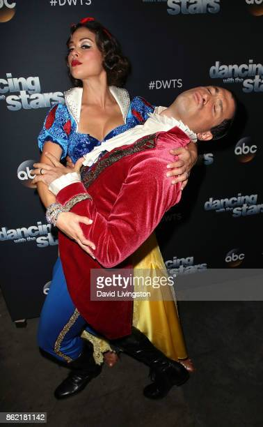 TV personality Vanessa Lachey and dancer Maksim Chmerkovskiy pose at 'Dancing with the Stars' season 25 at CBS Televison City on October 16 2017 in...
