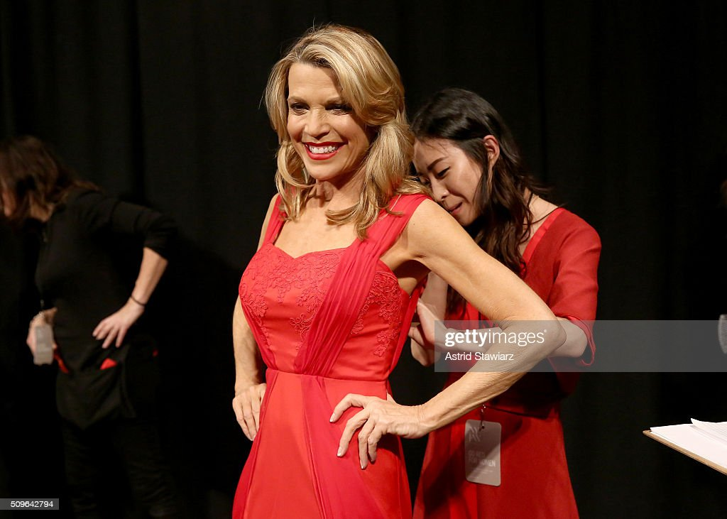 TV Personality Vanna White prepares backstage at The American Heart Association's Go Red For Women Red Dress Collection 2016 Presented By Macy's at The Arc, Skylight at Moynihan Station on February 11, 2016 in New York City.