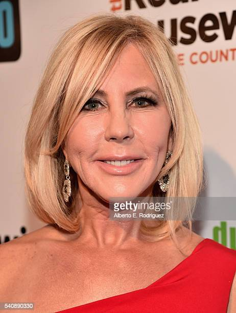 TV personality Vicki Gonvalson attends the premiere party for Bravo's 'The Real Housewives of Orange County' 10 year celebration at Boulevard3 on...