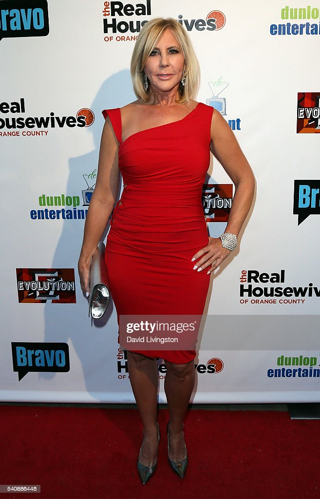 TV personality Vicki Gunvalson attends the premiere party for Bravo's 'The Real Housewives of Orange County' 10 Year Celebration at Boulevard3 on...