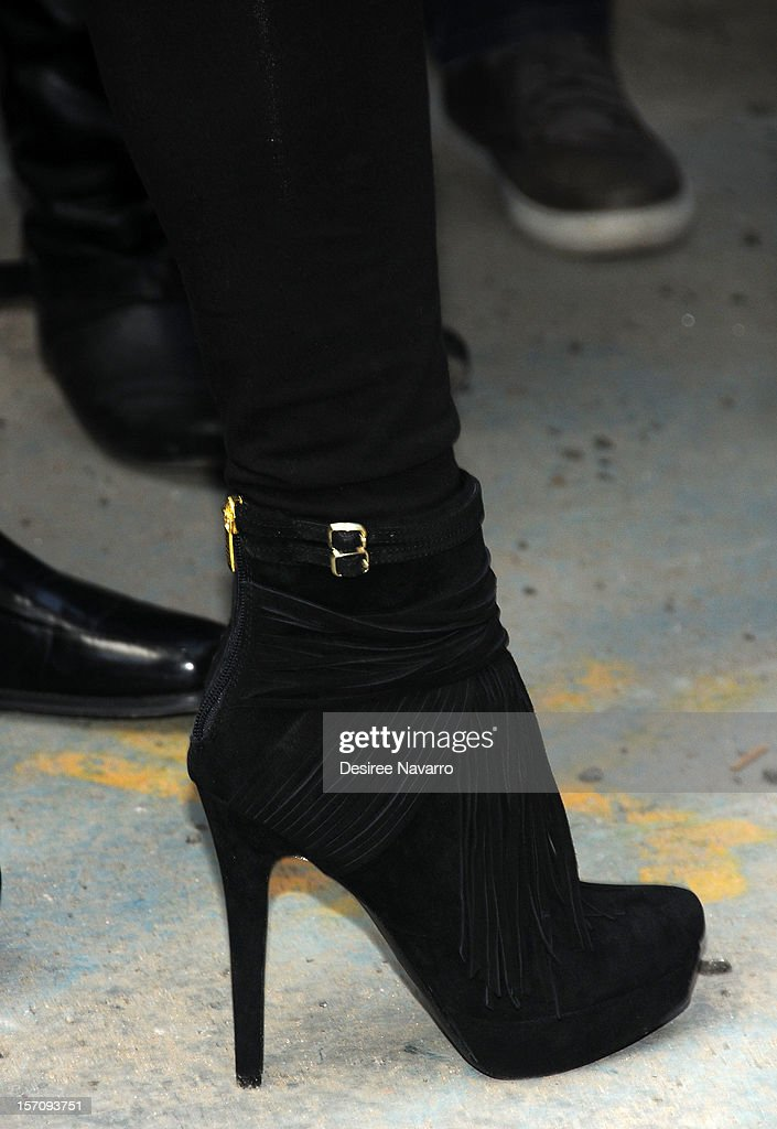 TV personality Wendy Williams (shoe detail) attends Wendy Williams 'I'd Rather Go Naked Than Wear Fur' Winter PETA Campaign Launch at Times Square on November 28, 2012 in New York City.