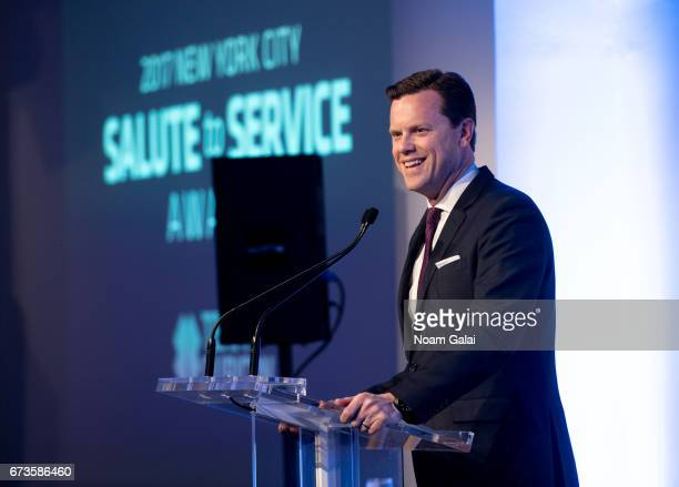 TV personality Willie Geist speaks onstage at the 2017 New York City Salute to Service Awards at Metropolitan Pavilion on April 26 2017 in New York...
