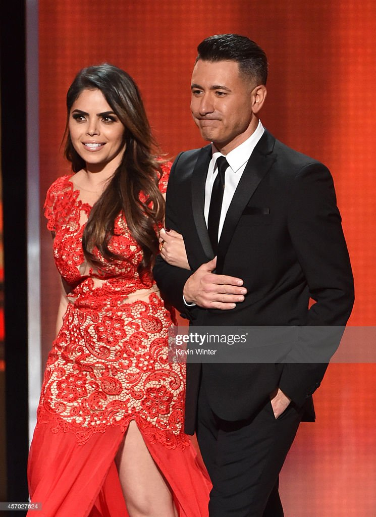 TV personality Yarel Ramos and professional soccer player Jorge Bernal speak onstage during the 2014 NCLR ALMA Awards at the Pasadena Civic...