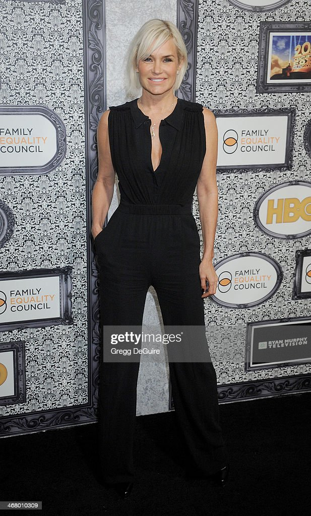TV personality Yolanda Foster arrives at the Family Equality Council's Annual Los Angeles Awards Dinner at The Globe Theatre on February 8 2014 in...