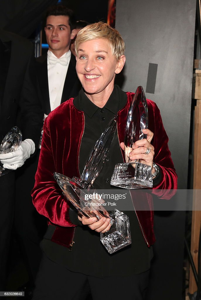 TV personality/actress Ellen DeGeneres, winner of the awards for Favorite Animated Movie Voice for 'Finding Dory' as Dory, Favorite Daytime TV Host, and Favorite Comedic Collaboration for 'Ellen DeGeneres and Britney Spears' Mall Mischief,' poses backstage during the People's Choice Awards 2017 at Microsoft Theater on January 18, 2017 in Los Angeles, California.