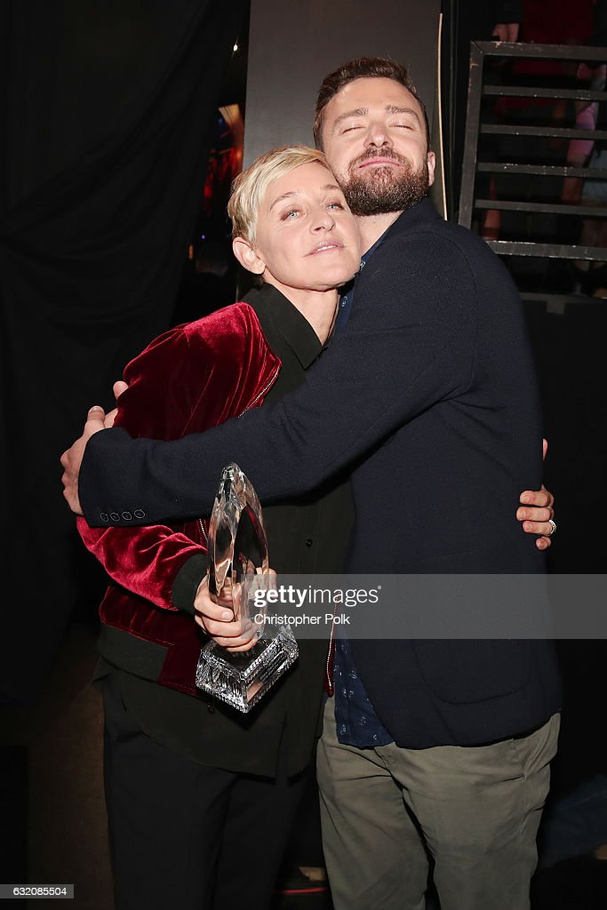 TV personality/actress Ellen DeGeneres (L), winner of the awards for Favorite Animated Movie Voice for 'Finding Dory' as Dory, Favorite Daytime TV Host, and Favorite Comedic Collaboration for 'Ellen DeGeneres and Britney Spears' Mall Mischief' and recording artist/actorJustin Timberlake pose backstage during the People's Choice Awards 2017 at Microsoft Theater on January 18, 2017 in Los Angeles, California.