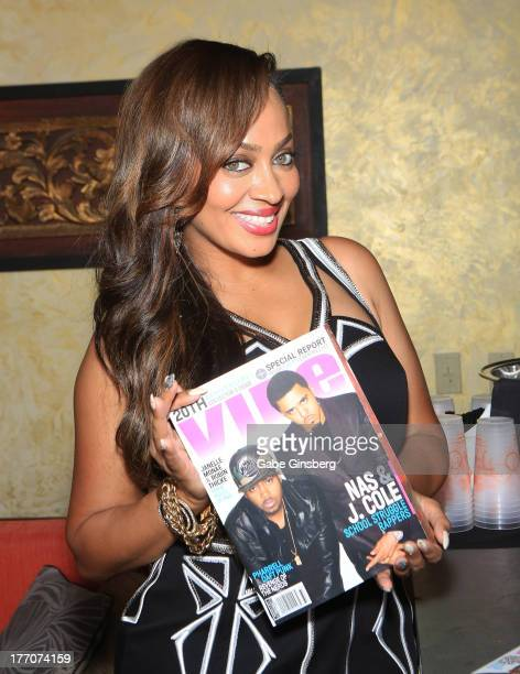TV personality/actress La La Anthony poses at Vibe Magazine's 20th anniversary pool party at the Tao Beach at The Venetian Las Vegas on August 20...