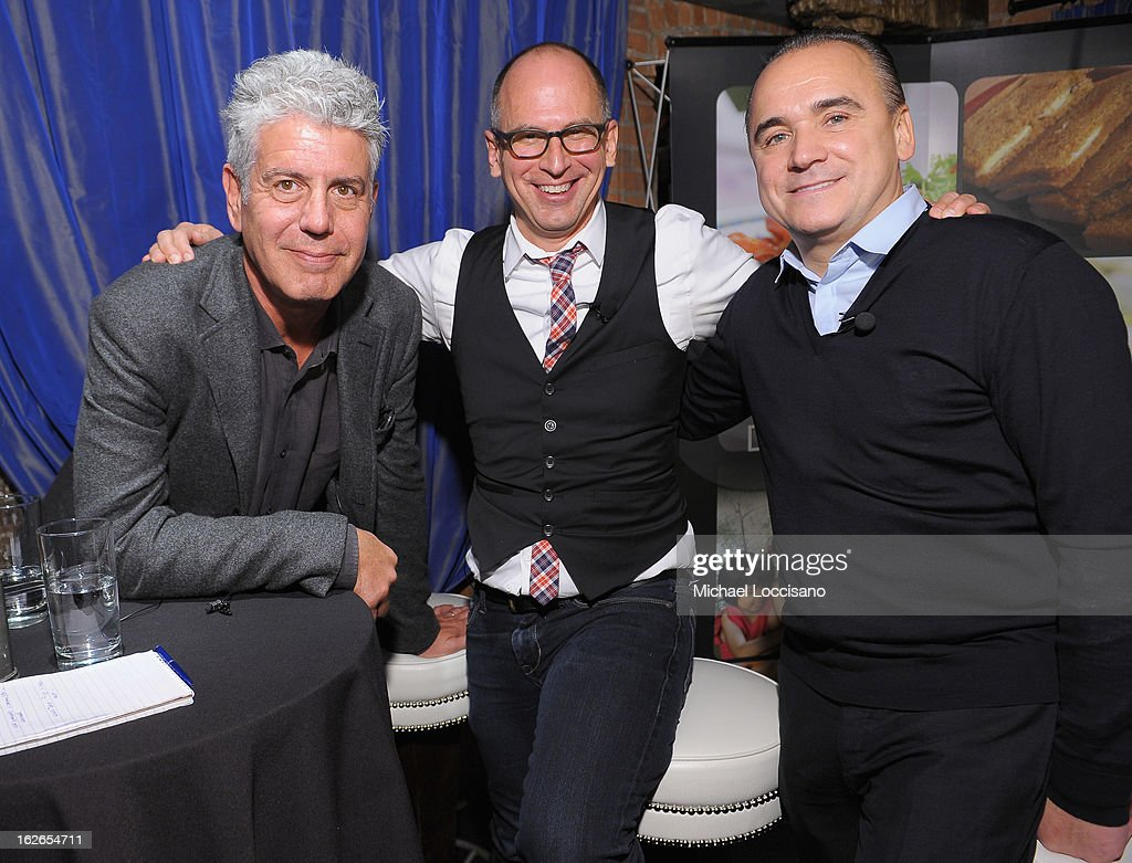 TV Personality/Chef <a gi-track='captionPersonalityLinkClicked' href=/galleries/search?phrase=Anthony+Bourdain&family=editorial&specificpeople=2310617 ng-click='$event.stopPropagation()'>Anthony Bourdain</a>, Saveur magazine editor-in-chief James Oseland, and Spice Market Owner/Chef Jean-Georges Vongerichten attend the press conference announcing the Inaugural World Street Food Congress 2013 at Spice Market on February 25, 2013 in New York City.